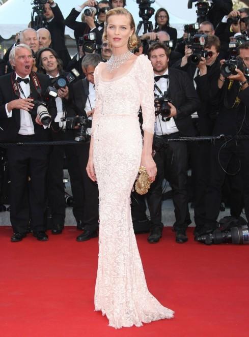 Eva Herzigova wearing pale-pink lace gown by Dolce and Gabbana