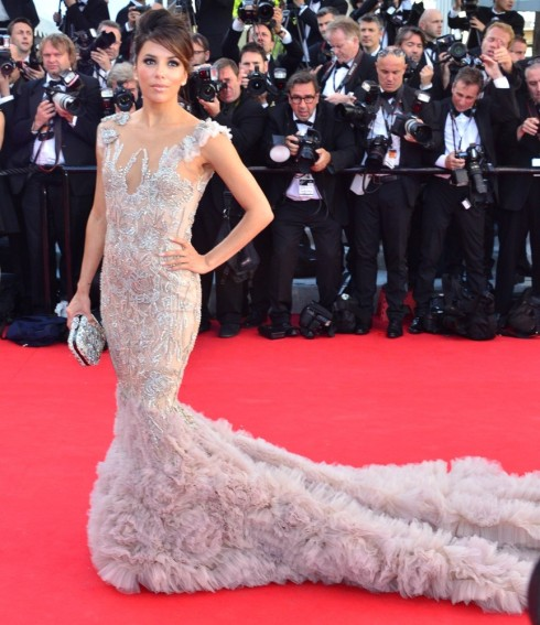 Eva Longoria wearing embroidered gown by Marchesa at Cannes festival 2012