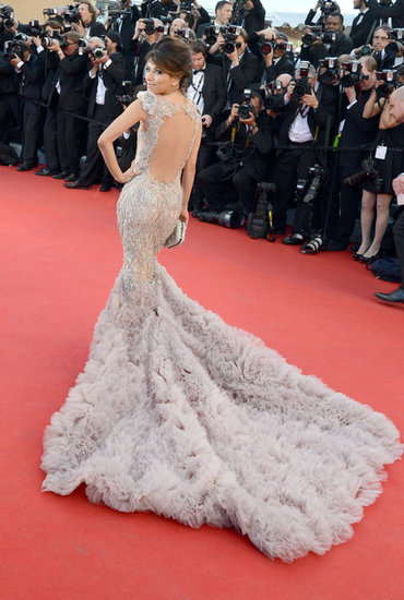 Eva Longoria wearing embroidered Marchesa gown at Cannes film festival