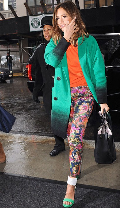 Jessica Alba in floral print pants by Erdem