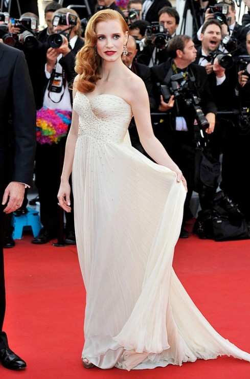 Jessica Chastain in white beaded dress by Giorgio Armani at Cannes film festival 2012
