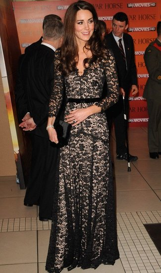 Kate Middletown wearing Alice Temperley black lace dress