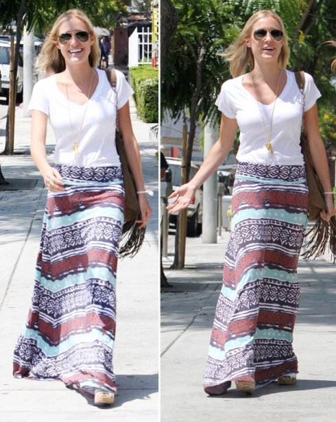 kristin cavallari wearing tribal skirt