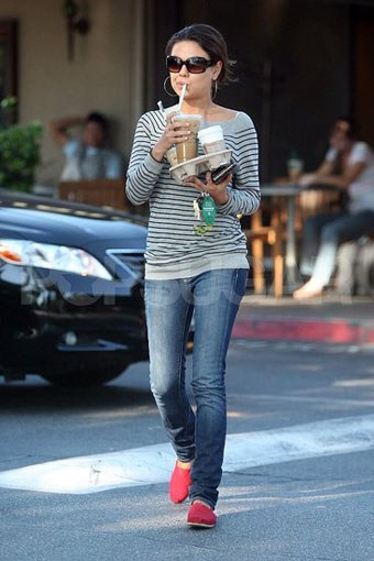Mila Kunis wearing Red Classics TOMS