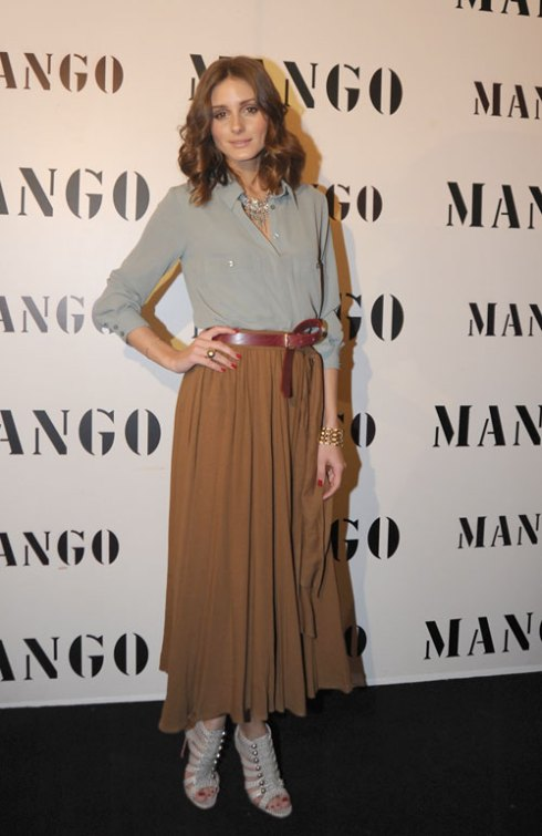 Olivia Palermo wearing brown maxi skirt  and army green top