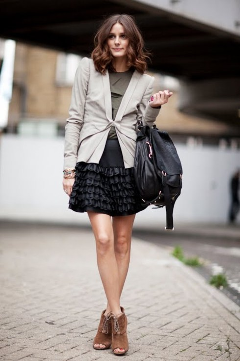 Olivia Palermo wearing neutral coloured blazer