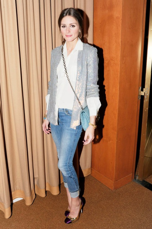 Olivia Palermo wearing a silver sequenced blazer