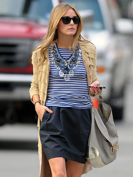 Olivia Palermo in striped top statement necklace by Roberta Freymann