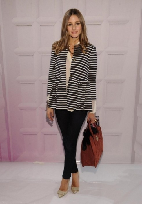 Olivia Palermo wearing striped nautical blazer