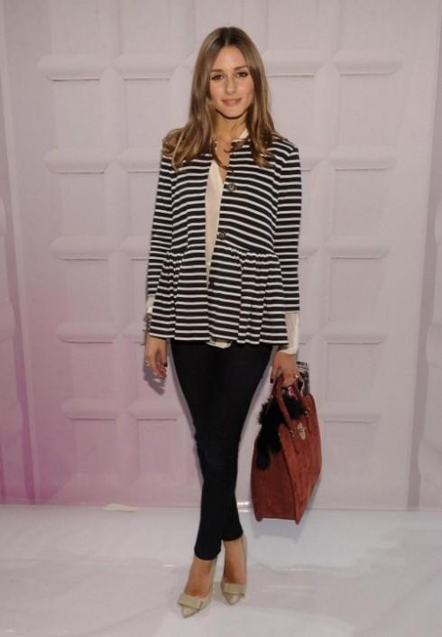 Olivia Palermo wearing striped nautical blazer