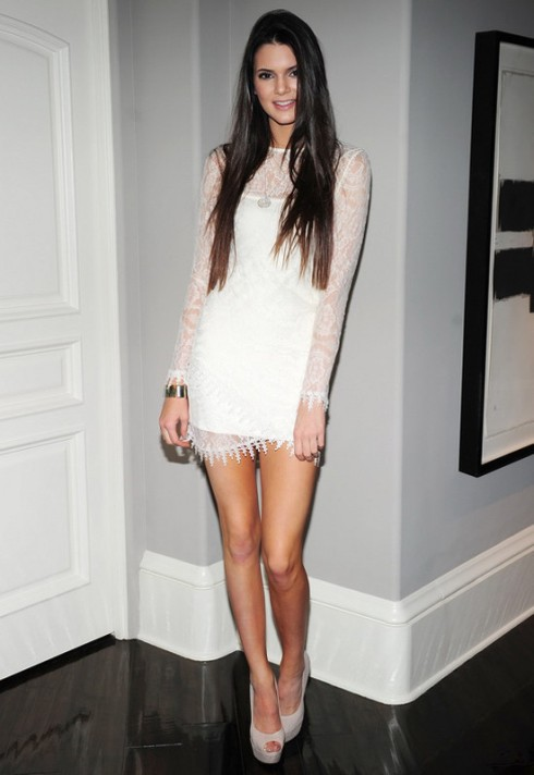 Kendall Jenner wearing For Love and Lemons Scarlet Lace dress in Ivory