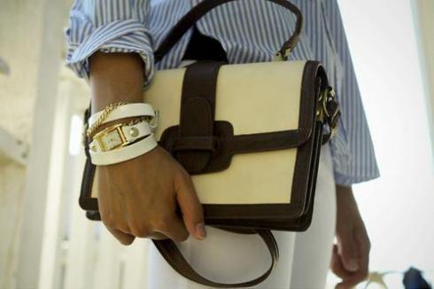 La Mer white leather wrap watch