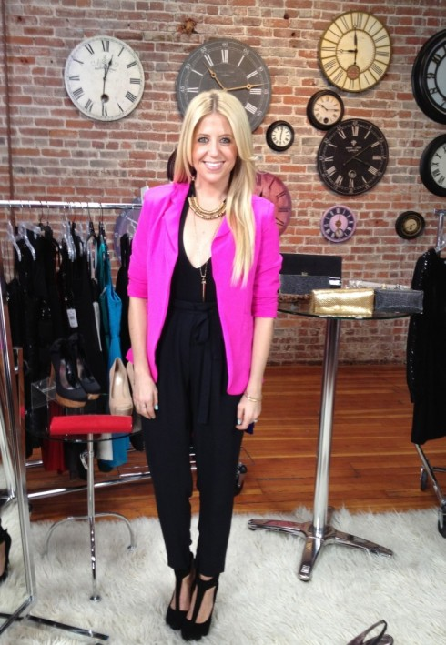 Lindsay Albanese wearing Naven blazer in pop pink