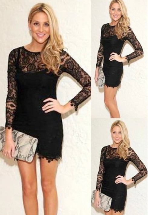 Stephanie Pratt wearing For Love and Lemons Scarlet Dress in black