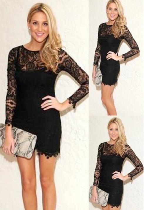 Stephanie Pratt wearing For Love and Lemons Scarlet Dress in black
