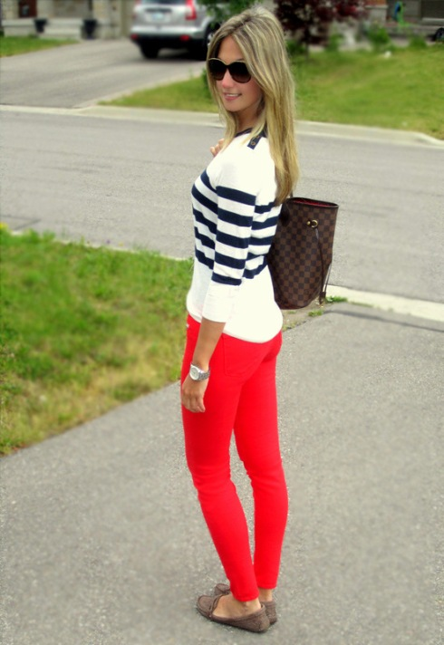 Casual Nautical outfit with red jeans by J brand