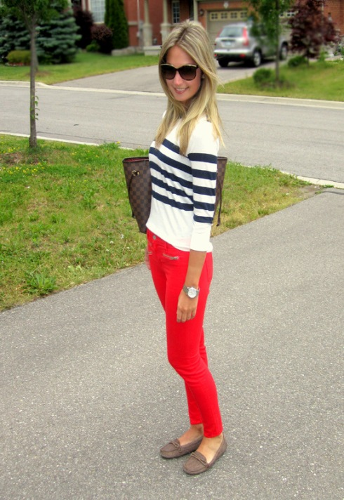J Brand Zoey Mid Rise Skinny Jeans in lipstick Red