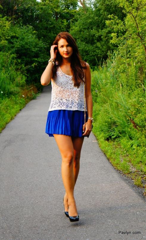 Greylin Blue Pleated Shorts