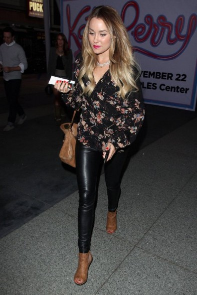 Lauren Conrad wearing floral print blouse with leather pants