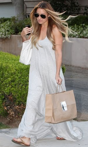Lauren Conrad wearing a grey maxi dress