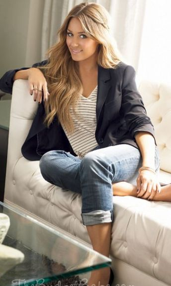 Lauren Conrad wearing blazer with striped shirt and jeans