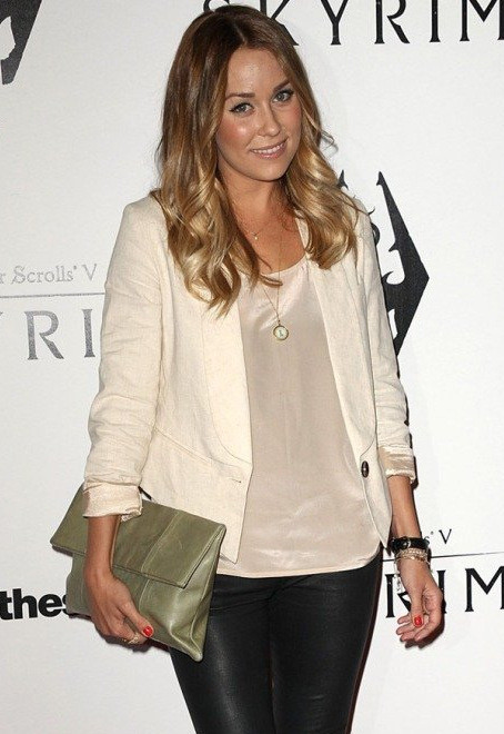 Lauren Conrad in PAPER CROWN PAROS BLAZER IN OATMEAL