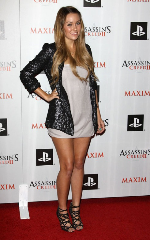 Lauren Conrad wearing blazer with sequins