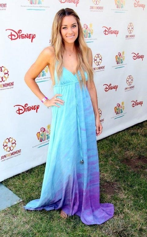 Lauren Conrad in a tie dye blue maxi dress