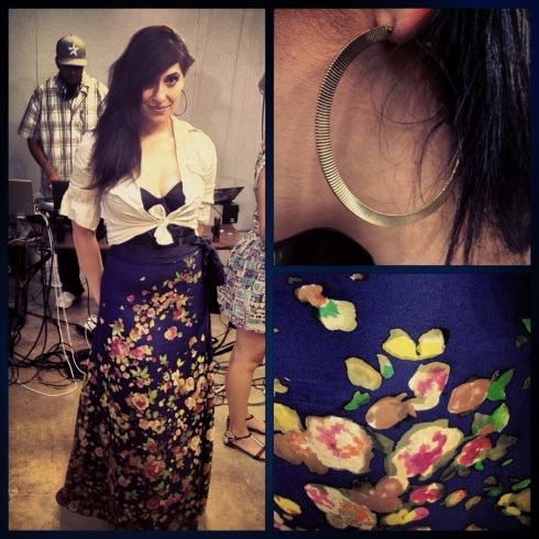 Marie wearing Paper Crown Twain Skirt in Navy Garden Bloom