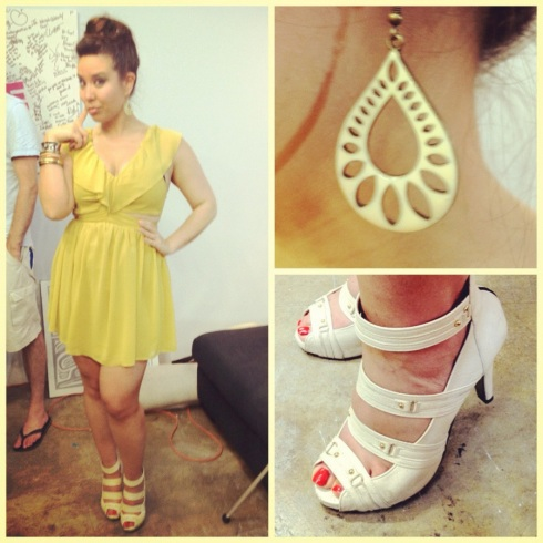 Nat wearing Pavlyn Keepsake Lost without you dress in mustard yellow