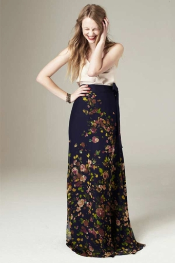 Paper Crown Floral Maxi Skirt