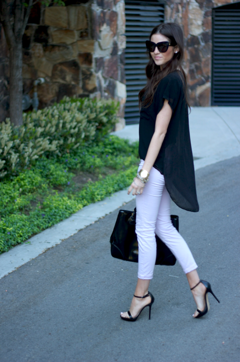 How to wear pastel purple J Brand Jeans with black