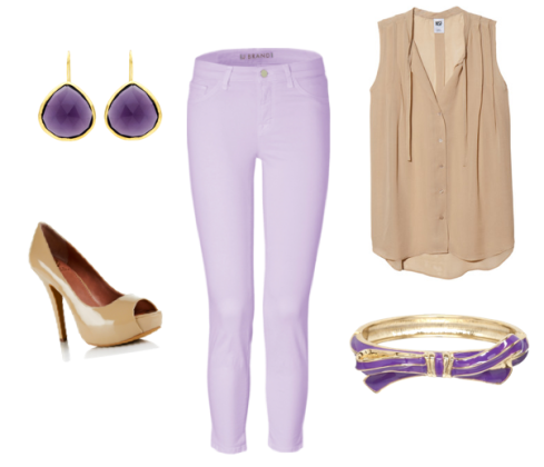 J Brand Skinny Jeans in Lilac outfit idea