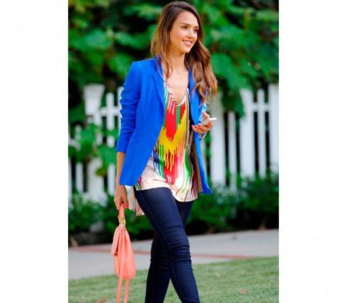 Jessica Alba wearing Naven blazer in Vegas Blue