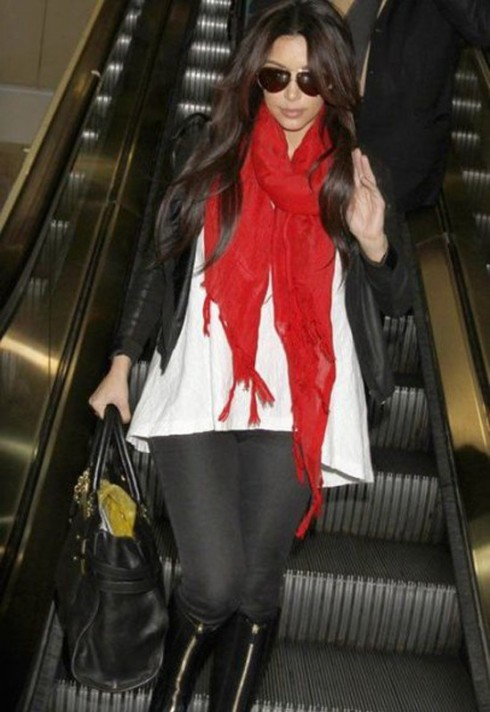 Kim Kardashian wearing Love Quotes linen tassel scarf in True Red