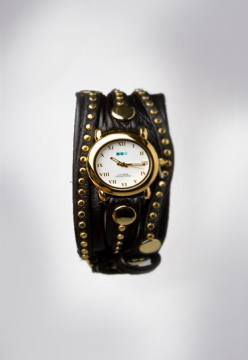 La Mer Bali Wrap Collection in Black and Gold Round wrap watch