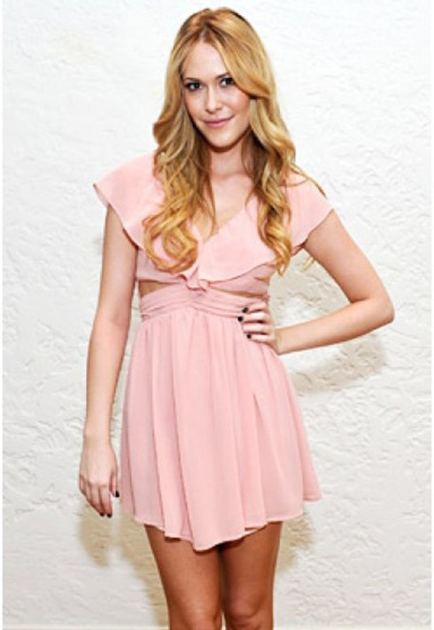 Sara Carroll wearing Keepsake Lost Without you dress in blush