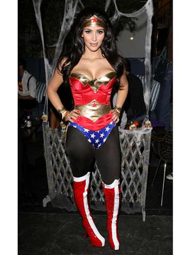 Kim Kardashian in Super Woman Halloween Costume