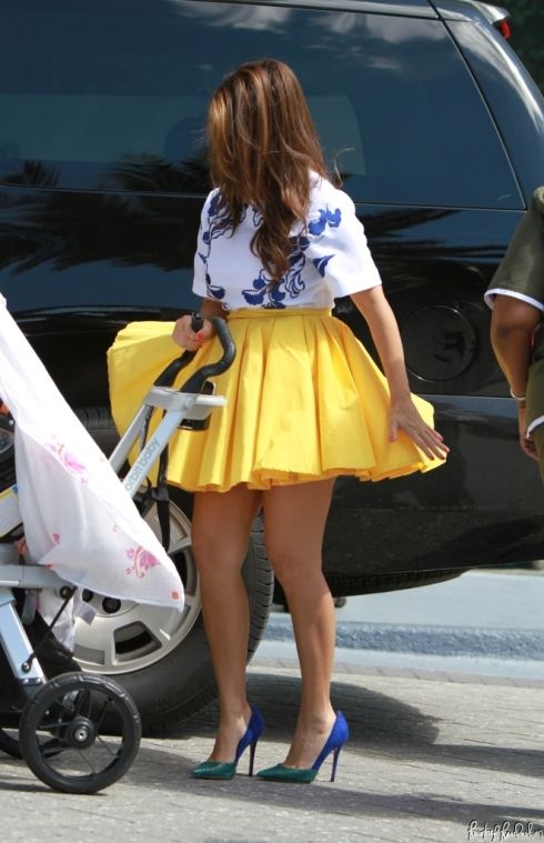 Kourtney Kardashian in Yellow Skirt by Blaque Label