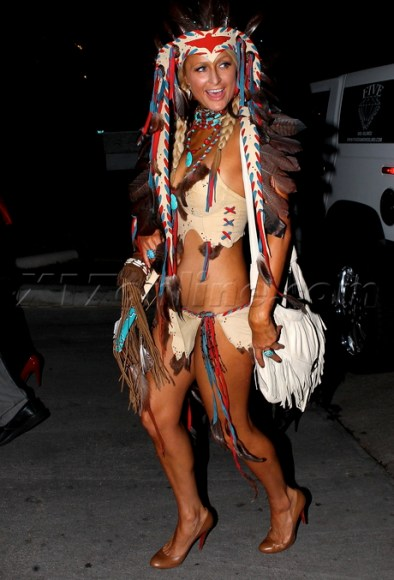 Paris Hilton in Native American Costume