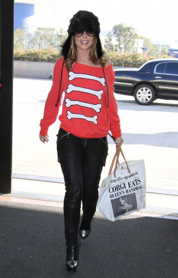 Cheryl Cole in Red Wildfox Bones Sweater