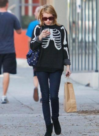 Emma Roberts in Skeleton Sweater