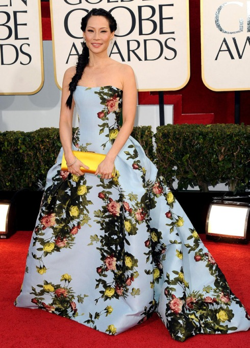 Golden Globel Lucy Liu Carolina Herrera Dress